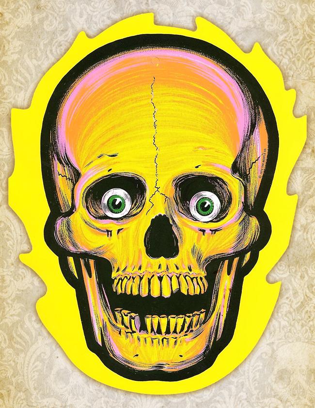 beistle skull flames die cut - Halloween Skull
