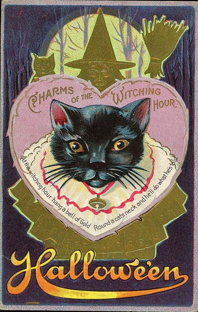 halloween-black-cats - Vintage Card