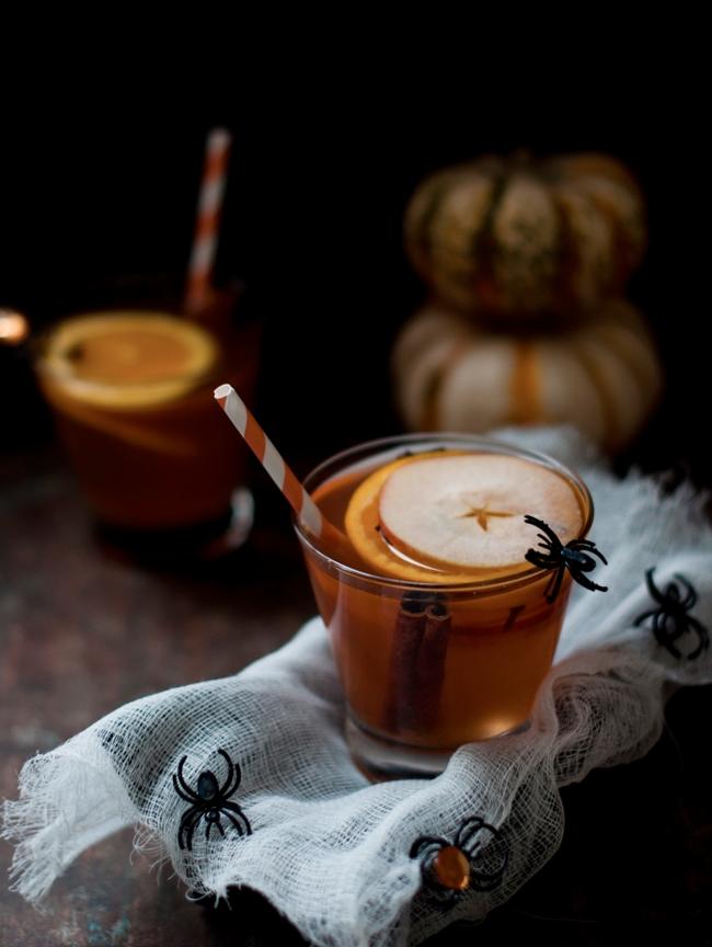 Halloween Cocktail - Apple Bourbon & Pumpkin Sangria