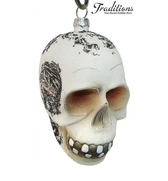 Glass and Glitter Skull Ornament