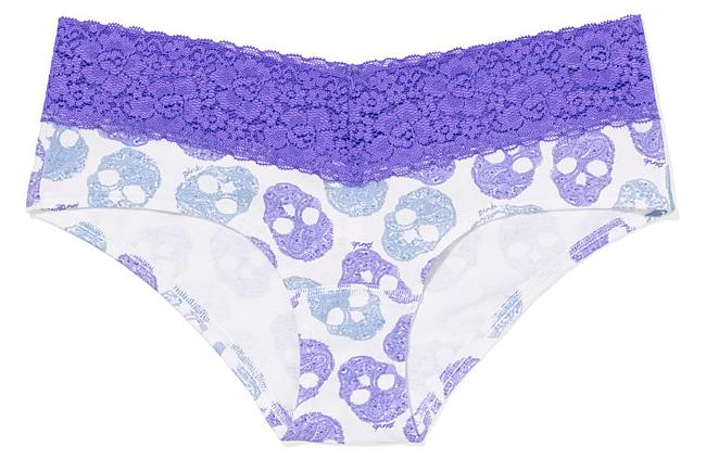Halloween Undies - Lace Trim Hipster Panty: Skulls