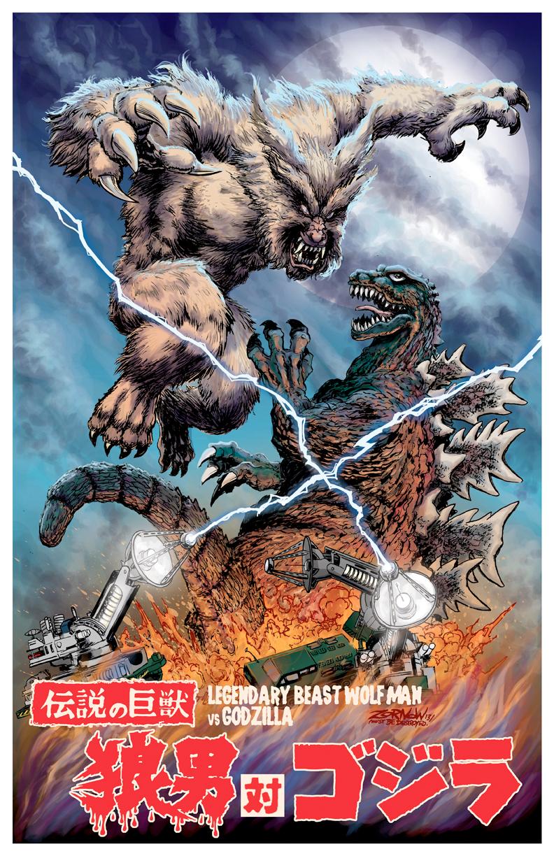 Jeff Zornow - Legendary Beast Wolfman vs Godzilla