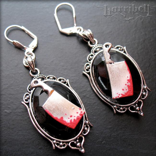 Bloody Meat Cleaver Earrings