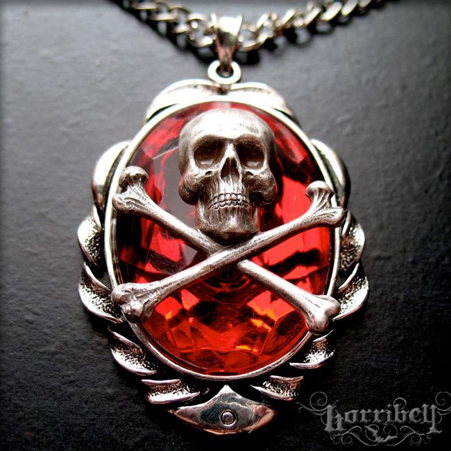 Red Skull & Crossbones Necklace