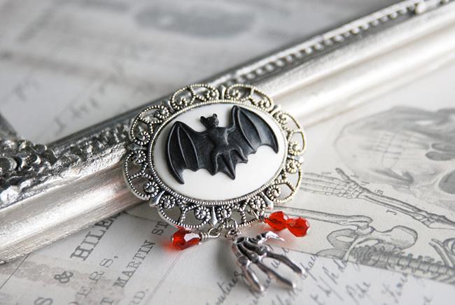 Vampire Bat Cameo Brooch