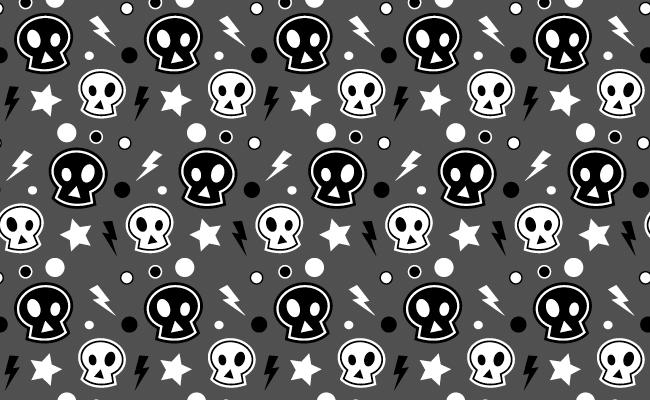Halloween Pattern - Funky Skulls