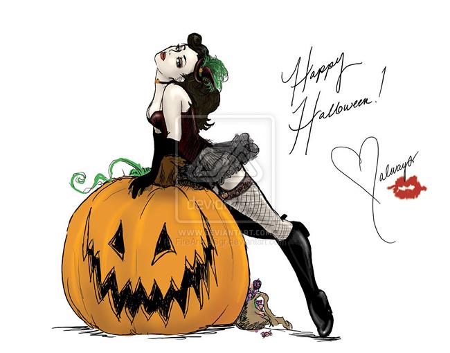 Halloween Pin-Up - Carynn Milne