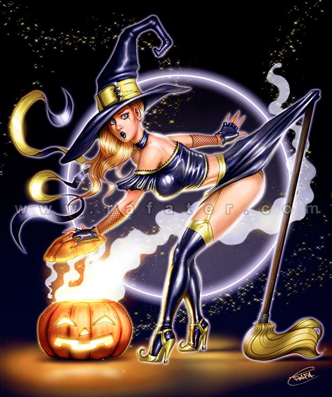 Halloween Pin-Up - Rafael Teruel Cáceres
