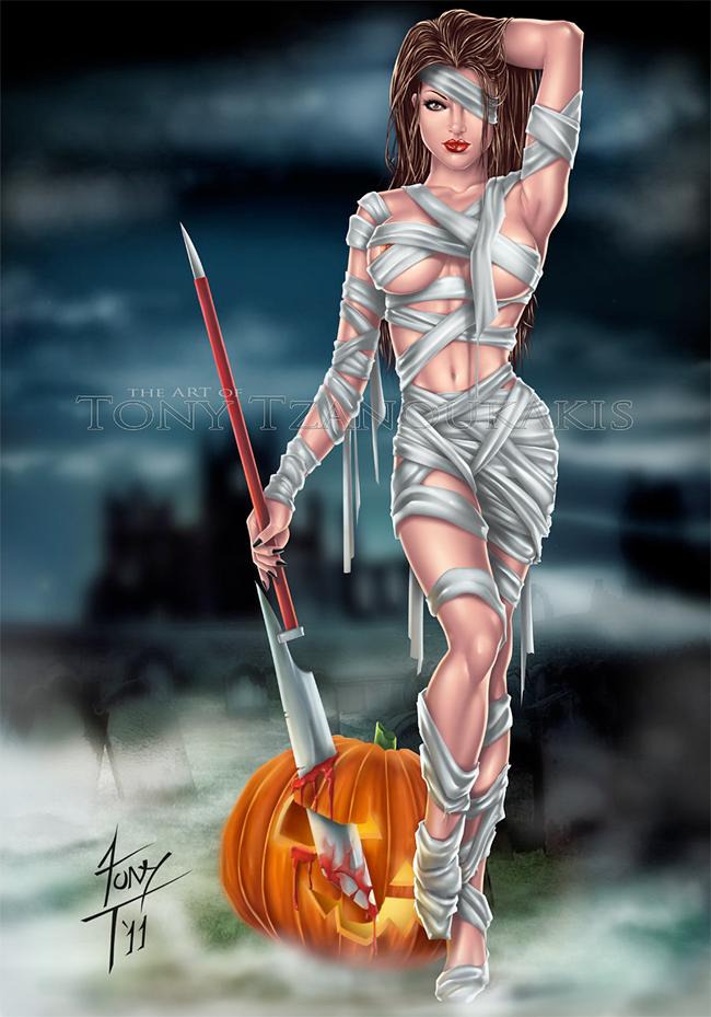 Halloween Pin-Up - Tony Tzanoukakis