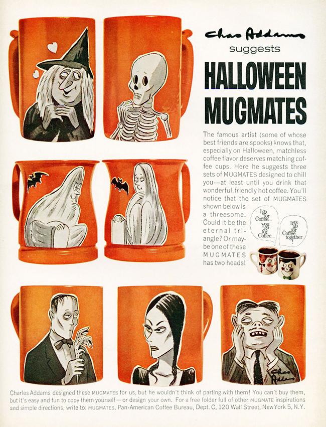 Vintage Halloween Ad - Addams Family Mugmates