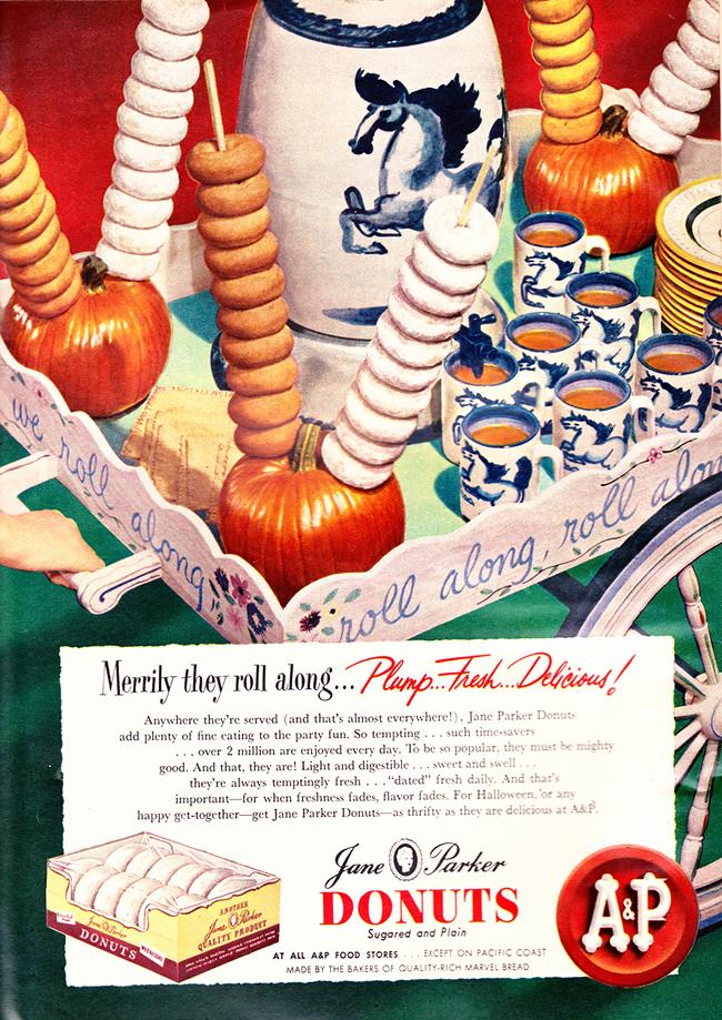 Vintage Halloween Ad - Jane Parker Donuts