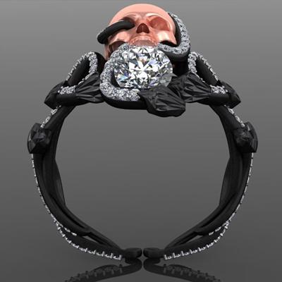 Black Viper Skull Ring